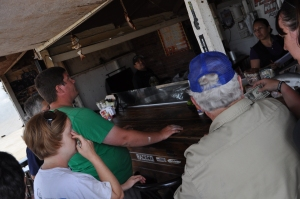 Visiting one of several taco stands in Ensenada